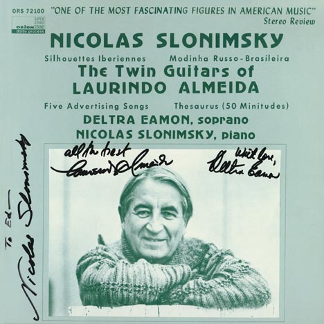 This is the autograph page of Nicolas Slonimsky.